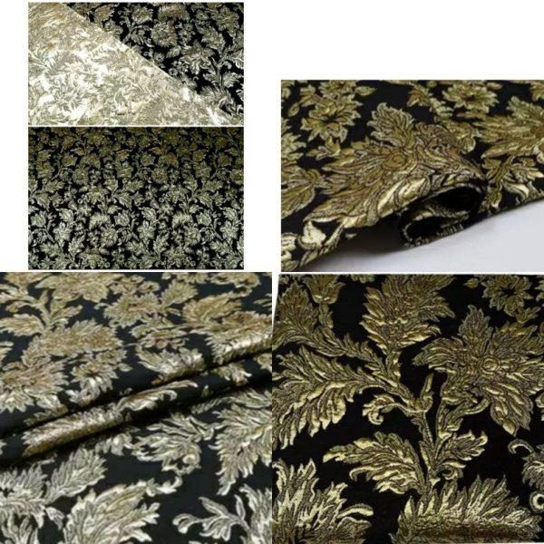 New Collection! Italian Jacquard Gold Yarn Foliage Pattern 3D fabric/Beautiful Designer Jacquard Fabric/W 145cm 310gr Rare fashion fabric 2