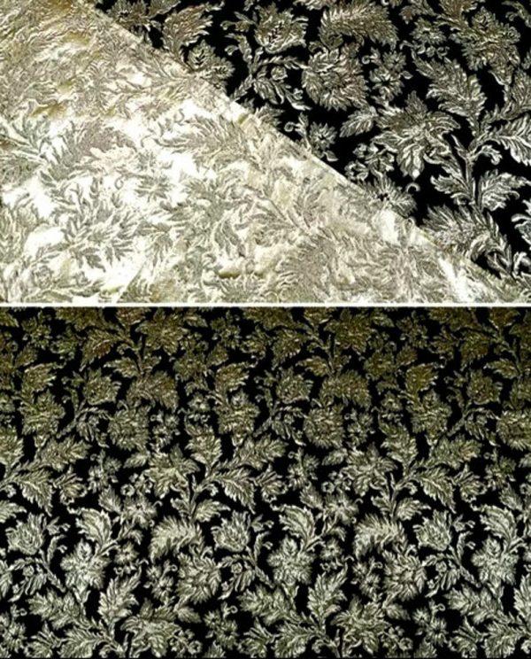 New Collection! Italian Jacquard Gold Yarn Foliage Pattern 3D fabric/Beautiful Designer Jacquard Fabric/W 145cm 310gr Rare fashion fabric 3