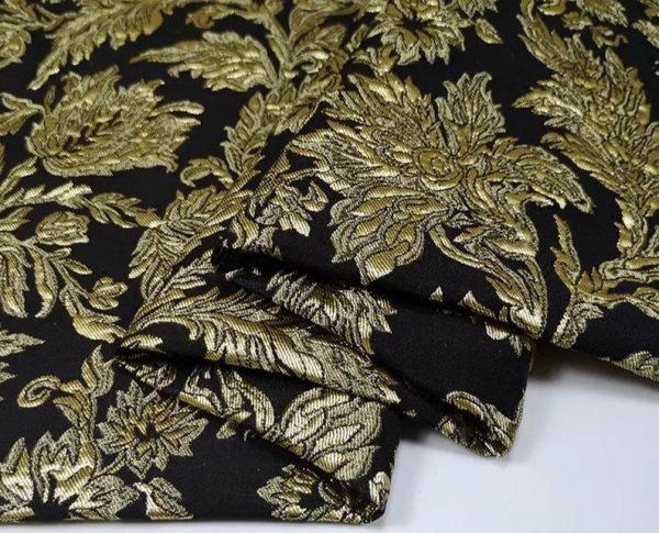 New Collection! Italian Jacquard Gold Yarn Foliage Pattern 3D fabric/Beautiful Designer Jacquard Fabric/W 145cm 310gr Rare fashion fabric 1