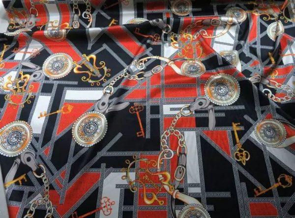 Rare Colour Silk Stretch Inkjet 19momme Italian Authentic Designer Fabric Fashion 98%silk,2spandex/ Belt,key,chain inkjket Fabric 3