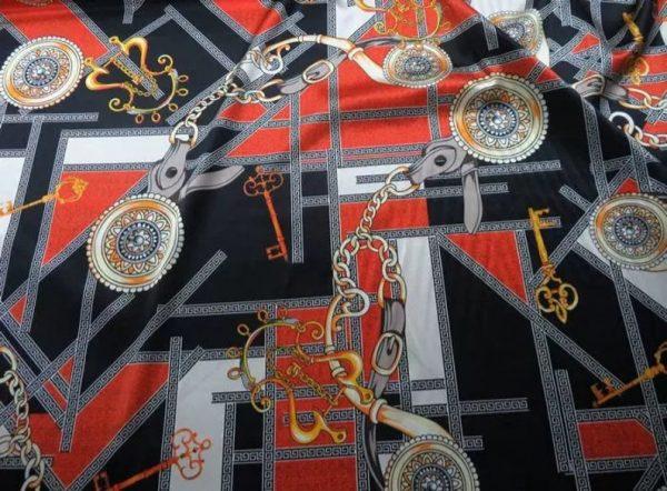 Rare Colour Silk Stretch Inkjet 19momme Italian Authentic Designer Fabric Fashion 98%silk,2spandex/ Belt,key,chain inkjket Fabric 2