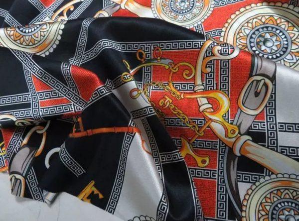 Rare Colour Silk Stretch Inkjet 19momme Italian Authentic Designer Fabric Fashion 98%silk,2spandex/ Belt,key,chain inkjket Fabric 4