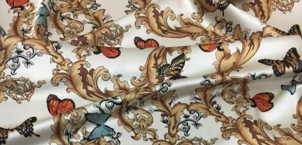 Balenciaga Silk Fabric Inkjet 20momme in 2 colours,White Italian Designer Fabric Fashion 95%silk,5spandex/ 106cm wide,Baroque and butterfly 9