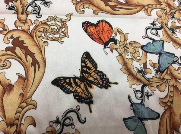 Balenciaga Silk Fabric Inkjet 20momme in 2 colours,White Italian Designer Fabric Fashion 95%silk,5spandex/ 106cm wide,Baroque and butterfly 7