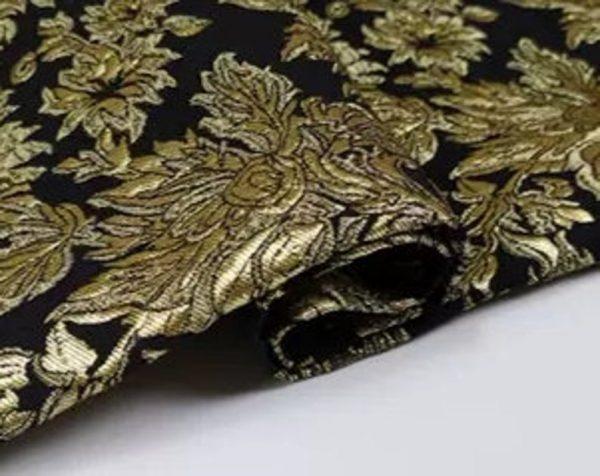 New Collection! Italian Jacquard Gold Yarn Foliage Pattern 3D fabric/Beautiful Designer Jacquard Fabric/W 145cm 310gr Rare fashion fabric 5