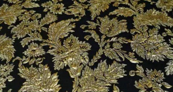 New Collection! Italian Jacquard Gold Yarn Foliage Pattern 3D fabric/Beautiful Designer Jacquard Fabric/W 145cm 310gr Rare fashion fabric 6