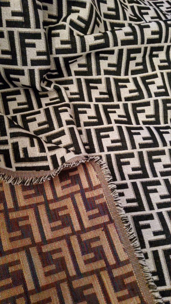 Fendi Jacquard New Collection Fendi Fabric Clothing and Accessories 30%Cotton 70 Polyester 340gr /Black letters on WHITE BASE/ 153*130cm 2 ⋆ Rozitta Rapetti