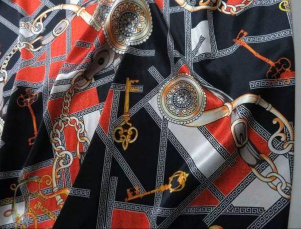 Rare Colour Silk Stretch Inkjet 19momme Italian Authentic Designer Fabric Fashion 98%silk,2spandex/ Belt,key,chain inkjket Fabric 6