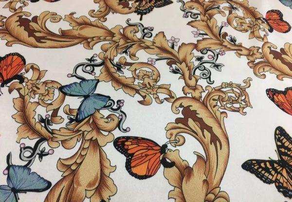 Balenciaga Silk Fabric Inkjet 20momme in 2 colours,White Italian Designer Fabric Fashion 95%silk,5spandex/ 106cm wide,Baroque and butterfly 5