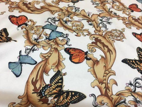 Balenciaga Silk Fabric Inkjet 20momme in 2 colours,White Italian Designer Fabric Fashion 95%silk,5spandex/ 106cm wide,Baroque and butterfly 3