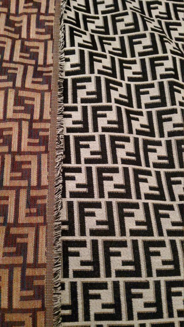 Fendi Jacquard New Collection Fendi Fabric Clothing and Accessories 30%Cotton 70 Polyester 340gr /Black letters on WHITE BASE/ 153*130cm 3 ⋆ Rozitta Rapetti