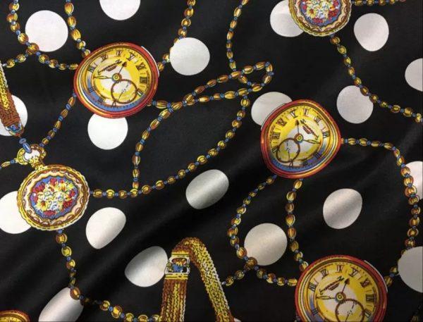 Hermes Watch Print Design Silk