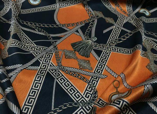 Hermes Silk Fabric Belts and Clock Print