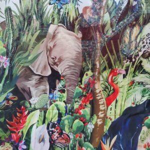 Jungle Elephant Print Chiffon fabric/ 2020collection fabric/Italian Designer Fabrics