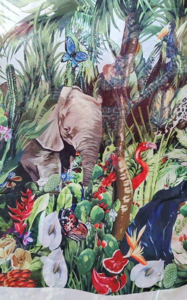 20200308 170451 Jungle Elephant Print Chiffon fabric/ 2020collection fabric/Italian Designer Fabrics 1