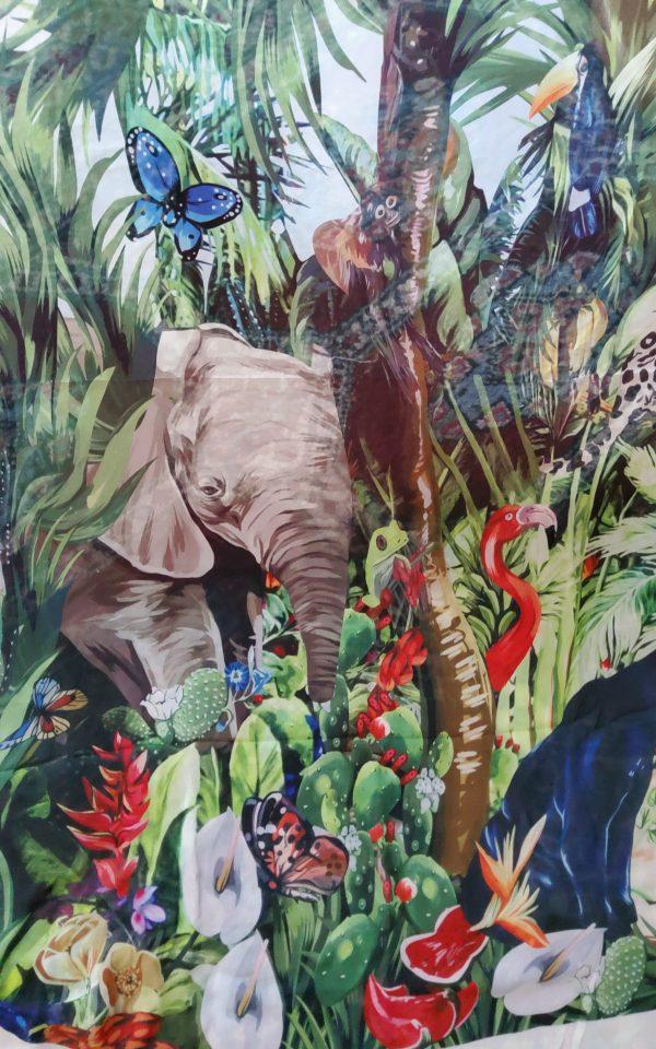 20200308 193407 Jungle Elephant Print Chiffon fabric/ 2020collection fabric/Italian Designer Fabrics 2