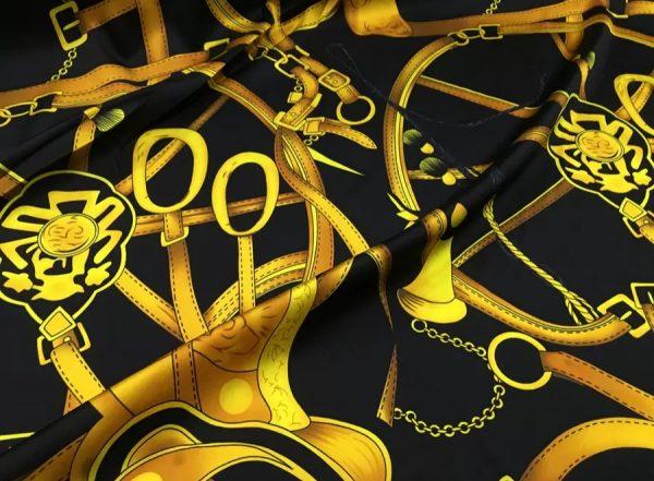 20200311 182243 Silk Saddle Print Fabric,Chain Print Silk Fabric,Italian Designer Fabrics,Gold Chain and Saddle Digital Inkjet Silk Fabric 8