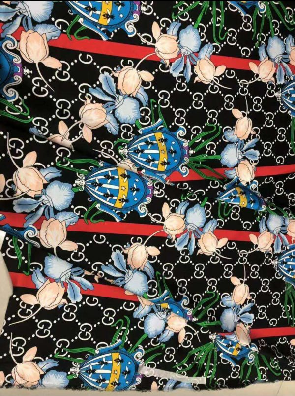 Gucci Silk New Collection/19momme Flowers and ladybird Design Gucci Silk/Italian Dedigner Fabric sold by Meter 1 ⋆ Rozitta Rapetti