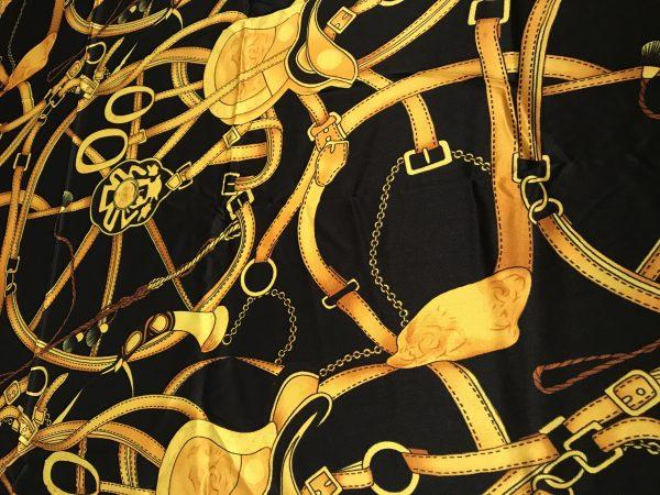IMG 5397 Silk Saddle Print Fabric,Chain Print Silk Fabric,Italian Designer Fabrics,Gold Chain and Saddle Digital Inkjet Silk Fabric 11