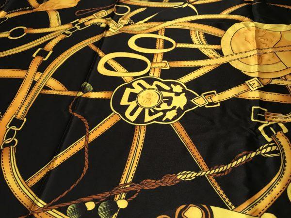IMG 5398 Silk Saddle Print Fabric,Chain Print Silk Fabric,Italian Designer Fabrics,Gold Chain and Saddle Digital Inkjet Silk Fabric 12