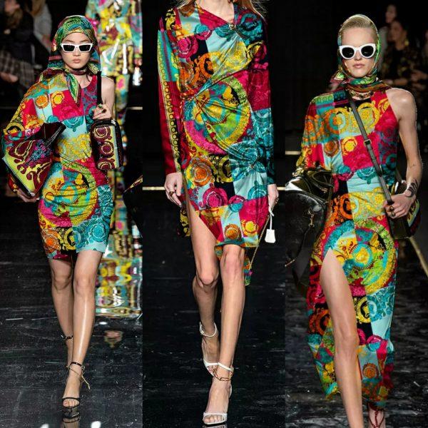 PhotoCollage 20200320 003832113 Versace Silk Fabric/New Collection Italian Designer Fabric/Vercase Digital Inkjet Silk Fabric/Fashion Week Italian Haute Couture Fabric 1