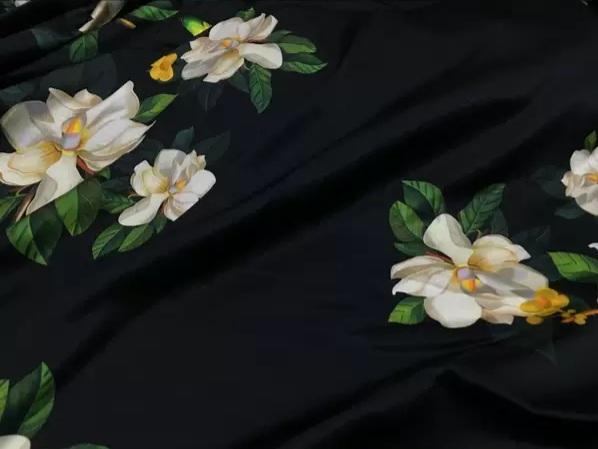 20200509 013706 Oscar De La Renta Fabric/New Collection Italian Silk Fabric Inkjet 3D Effect/Designer Stretch Silk Fabric with Floral Pattern/ Lilies Silk Fabric 10