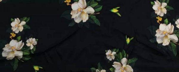 20200509 013731 Oscar De La Renta Fabric/New Collection Italian Silk Fabric Inkjet 3D Effect/Designer Stretch Silk Fabric with Floral Pattern/ Lilies Silk Fabric 11