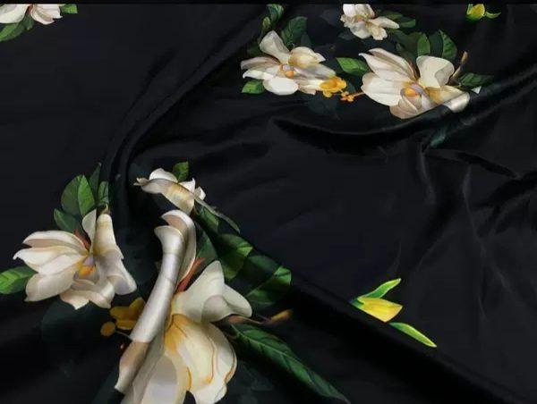 20200509 013802 Oscar De La Renta Fabric/New Collection Italian Silk Fabric Inkjet 3D Effect/Designer Stretch Silk Fabric with Floral Pattern/ Lilies Silk Fabric 5