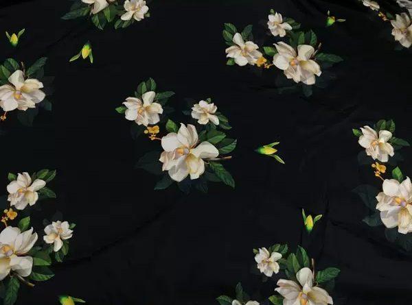 20200509 013817 Oscar De La Renta Fabric/New Collection Italian Silk Fabric Inkjet 3D Effect/Designer Stretch Silk Fabric with Floral Pattern/ Lilies Silk Fabric 6