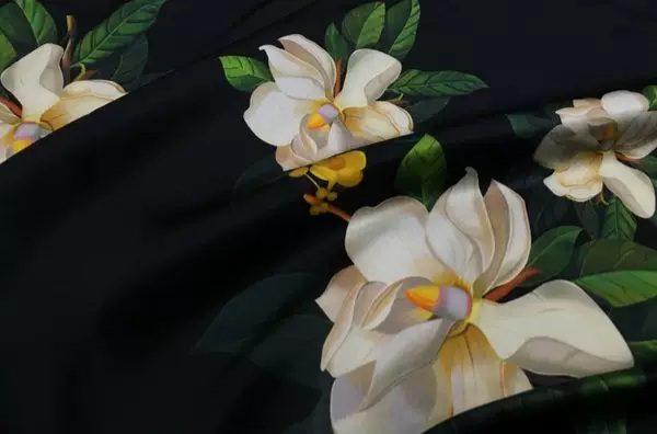 20200509 013840 Oscar De La Renta Fabric/New Collection Italian Silk Fabric Inkjet 3D Effect/Designer Stretch Silk Fabric with Floral Pattern/ Lilies Silk Fabric 1