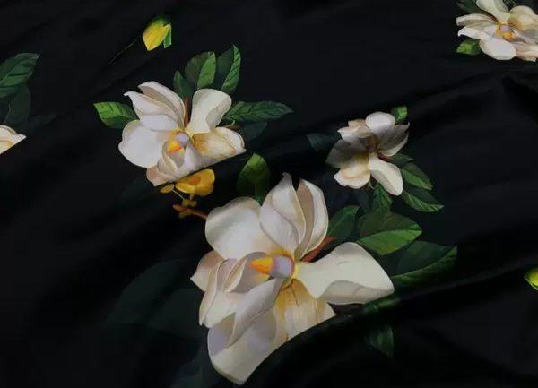 20200509 013948 Oscar De La Renta Fabric/New Collection Italian Silk Fabric Inkjet 3D Effect/Designer Stretch Silk Fabric with Floral Pattern/ Lilies Silk Fabric 14