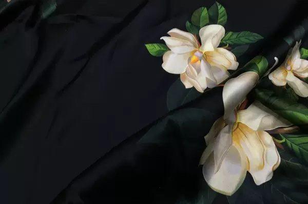 20200509 014004 Oscar De La Renta Fabric/New Collection Italian Silk Fabric Inkjet 3D Effect/Designer Stretch Silk Fabric with Floral Pattern/ Lilies Silk Fabric 4