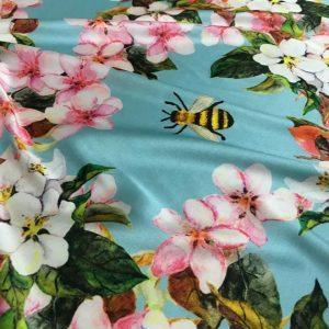 Gucci Silk Stretch Fabric/Italian Designer Silk Blossoms Pattern and Bees/Marvelous Fashion Week Silk