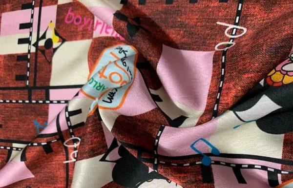 Gucci Heavy Silk Stretch fabric,logo print fabric.
