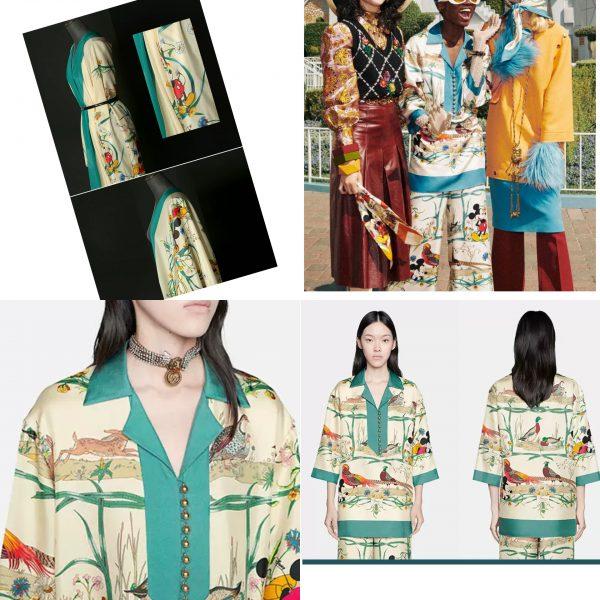 PhotoCollage 20200508 231128602 Gucci New Collection/Gucci Disney Silk fabric/Gucci animal print/Gucci Mickey fabric Silk 1