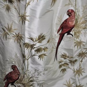 Gucci Embroidered Silk Fabric Brocade Heavy for curtain,furniture upholstery /Designer Silk Embroidered Fabric/Parrots ornament silk Fabric
