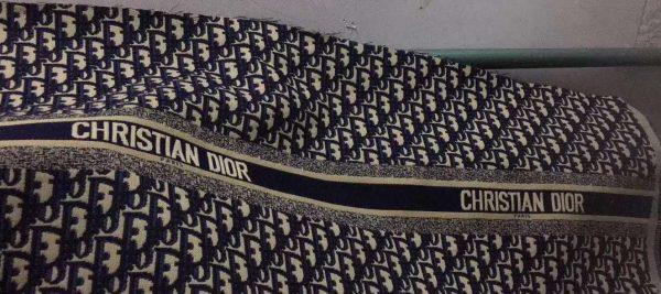 16138896573 527470162 Dior Oblique Jacquard Fabric/New Collection Dior Brocade colour #3 White Base Dark Blue and Black Logo 1