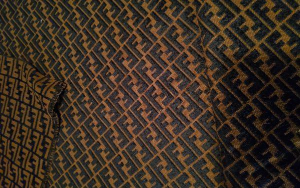 Fendi Brown and Black Jacquard Fabric