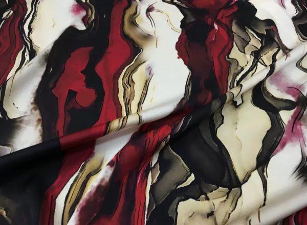 Roberto Cavalli Exclusive Silk Fabric in burgundy