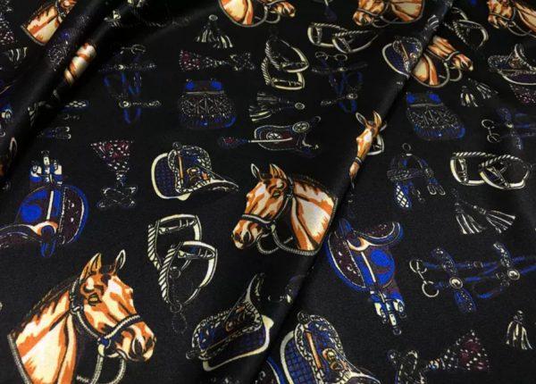 Hermes Silk Horse Design Print