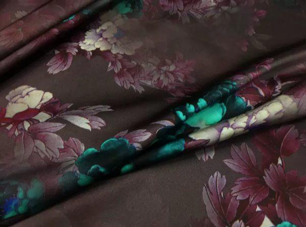 Italian Designer Mulberry Silk Fabric Inkjet Floral motifs.