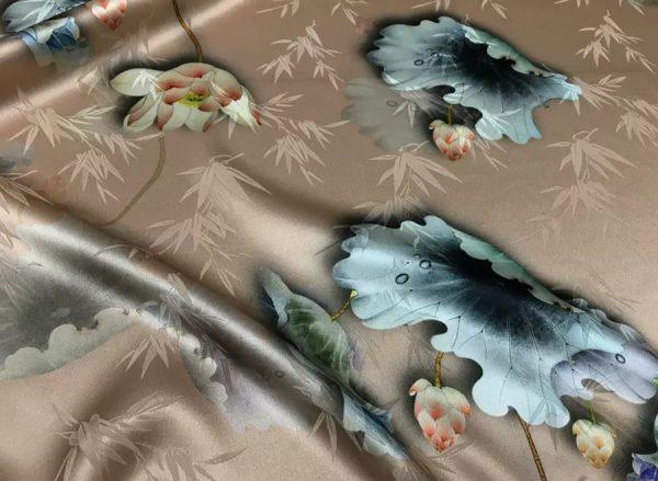 20200620 004548 Valentino Silk Fabric/Italian Designer Silk Stretch Fabric/Flowers Pattern Silk 1