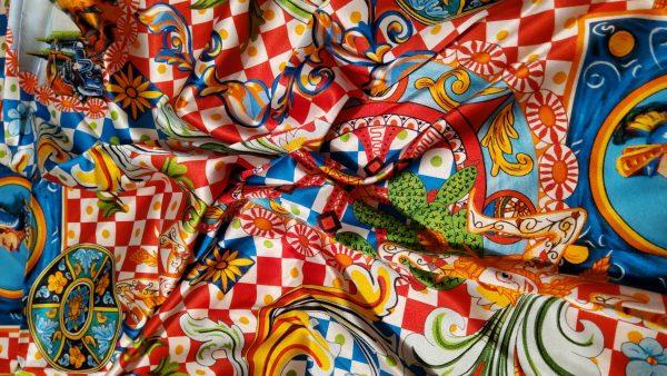 20200712 202854 Majolica Silk Fabric/Sicily Show Fabric/Majolica Print Silk Fabric/Knight Print Majolica Silk 2