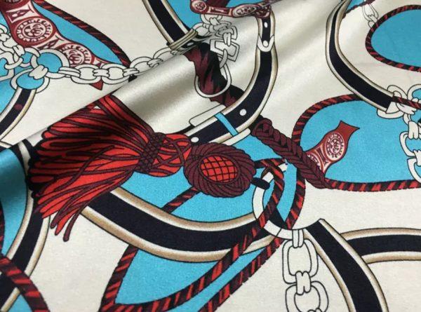 Hermes Silk Stretch Fabric Chain and Belt print