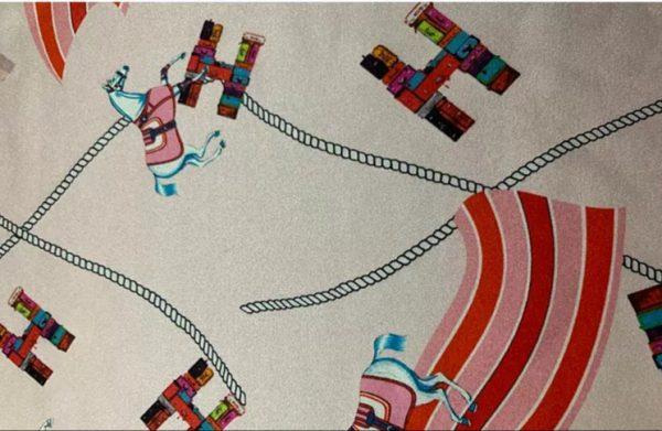 HERMES Silk Stretch Fabric Horse Print