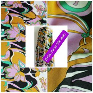 Emilio Pucci Silk Satin Crepe Fabric/Floral Design Tunic Fabric/Designer Italian Silk Charmeuse Satin Fabric #1