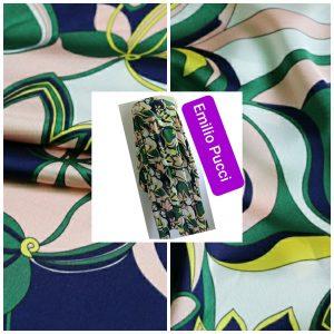 Emilio Pucci Silk Satin Crepe Fabric/Floral Design Tunic Fabric/Designer Italian Silk Charmeuse Satin Fabric #2