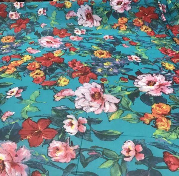 Designer Chiffon Flowers Printed