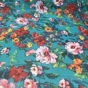 Designer Chiffon Flowers Printed Italian Fabric/Beautiful Summer Italian Chiffon