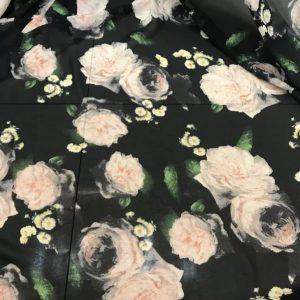 Beautiful Chiffon Silky Dress Fabric/New Collection Italian Chiffon Roses Digital Print fabric